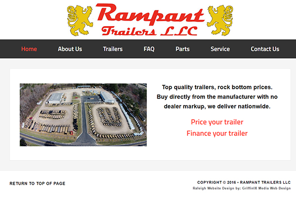 Raleigh Website Design - Rampant Trailers